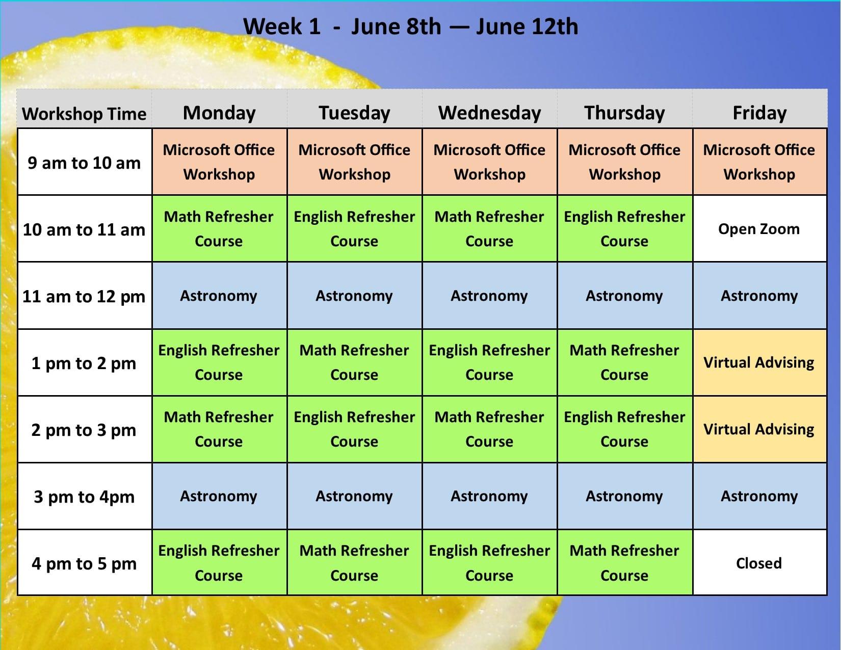 Summer Academy Year 3 Schedule 2