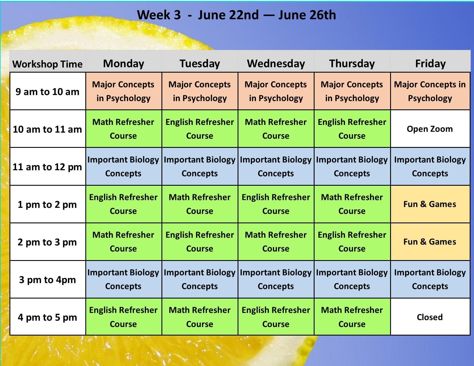 Summer Academy Year 3 Schedule 4