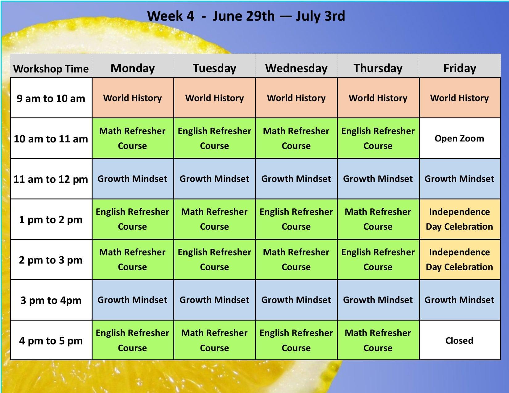 Summer Academy Year 3 Schedule 5