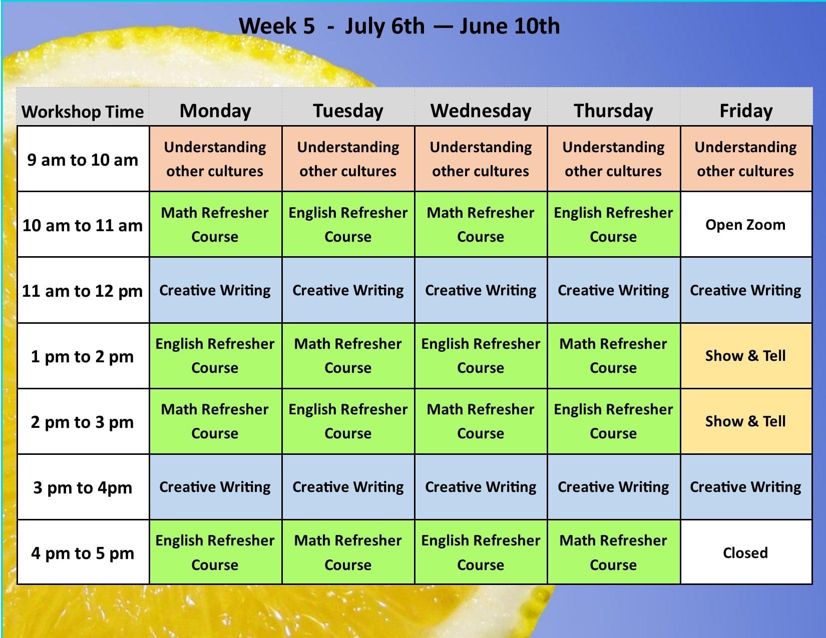 Summer Academy Year 3 Schedule 6