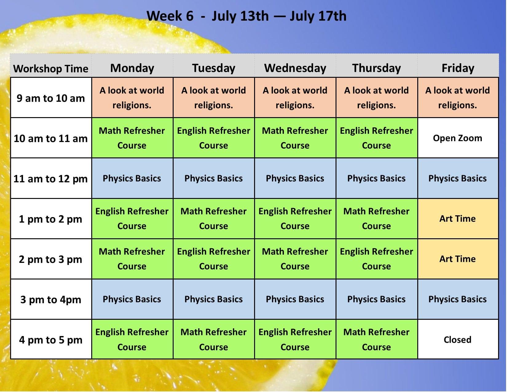 Summer Academy Year 3 Schedule 7