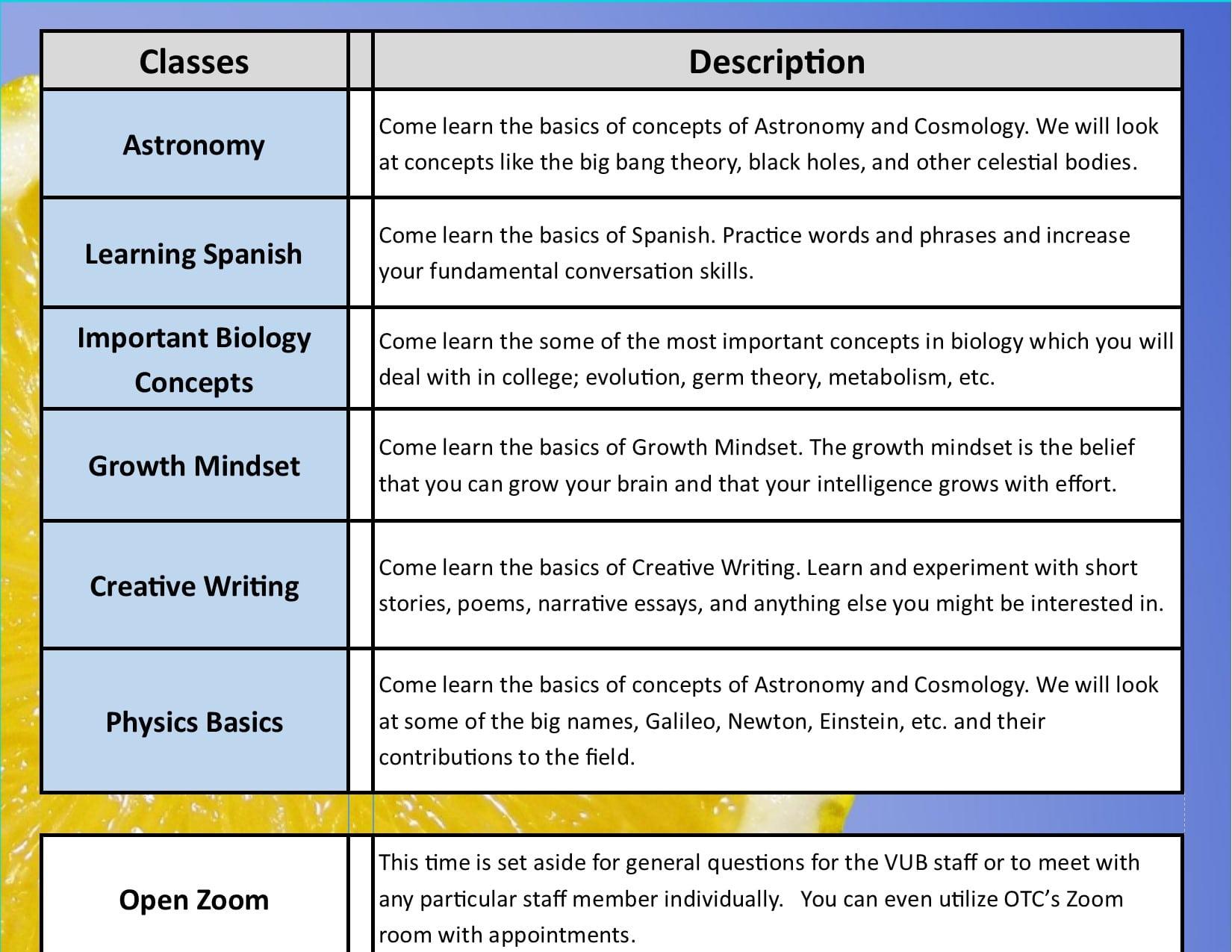 Summer Academy Year 3 Schedule 8