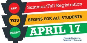 Summer and Fall 2018 registration starts April 17